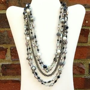 6 strand multi bead and chain necklace